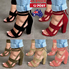 Women High Heels Strappy Ankle Buckle Block Sandals Open Toe Gladiator Shoes AU