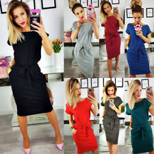 AU Womens Belted Pocket Holiday Midi Casual Ladies Summer Beach Party Dress 6-16