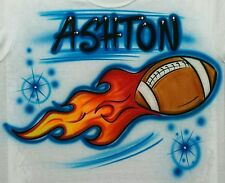 Airbrushed Flaming Football Personalized T-shirt Or Hoody Sweatshirt