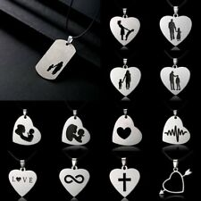 Fashion Stainless Steel Love Heart Cross Pendant Necklace Family Jewelry Gift