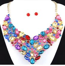multi-coloured Statement Necklaces; costume necklace; fashion jewellery necklace