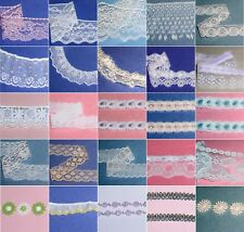 """Assorted Vintage Lace Trim Lots 3/8"""" - 5"""" Wide CLOSEOUT Ivory Cream White 80X"""