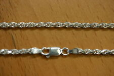 2.8mm Solid .925 Sterling Silver Diamond Cut Rope Chain Necklace Made in Italy