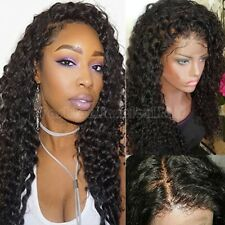 Hot Glueless Indian Human Hair Lace Front Wig Kinky Curly Black Full Lace Wig Sf