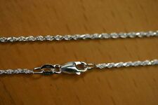 1.5mm Solid .925 Sterling Silver Diamond Cut Rope Chain Necklace Made in Italy