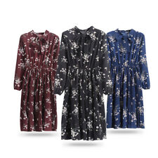 Women Floral Chiffon Long Sleeve Casual Party Vintage Boho Maxi Pleated Dress
