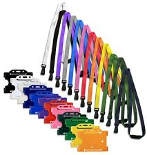 ID Card Pass Badge Holder & id Soft Neck Lanyard Strap - J-Clip