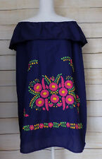Womens Mexican Dress Navy Blue Floral Embroidered Peasant Off the Shoulder Mini