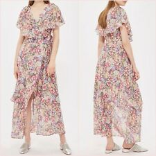 Topshop Pink Floral Wrap Slit Midi Maxi Ruffle Dress Size 6 US 2 Blogger ❤