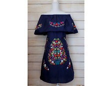 Women Mexican Dress Navy Blue Floral Embroidered Peasant Mini Wedding Bridesmaid