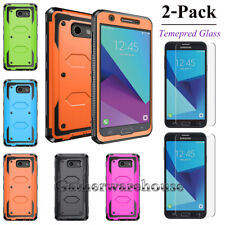 2X Tempered Glass Screen Protector For Samsung +Shockproof Phone Case Hard Cover