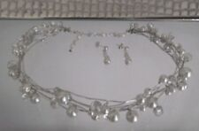 PEARL CRYSTAL WIRE CHOKER NECKLACE & EARRING SET, WHITE or IVORY COLOURS, AUST