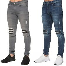 New Enzo Mens Super Skinny Jeans Stretched Ripped Denim Trousers Blue Grey
