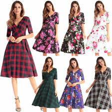 Retro Style Floral Evening 50s 60s V Neck Women Mini Swing Dress Skater