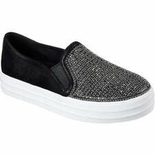 Skechers Double Up Shiny Dancer Womens Footwear Slip Ons - Black All Sizes