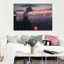 """HD Art Canvas Print Oil Canvas Painting  Home Decor Lonely Girl Lanterns 16""""x24"""""""