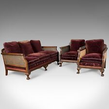 Antique Conservatory Suite, Bergere Sofa & Two Chairs, Edwardian, English c.1910
