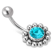 Stainless Steel Sunflower Floral CZ Color Emblem Charm Belly Button Navel Ring