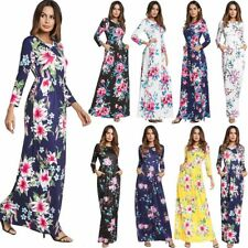 Women Floral Print Long Sleeve Boho Dress Holiday Evening Party Long Maxi Dress