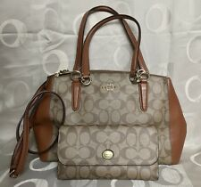Coach Small Christie Carryall Satchel Saddle Brown And Peyton Checkbook Wallet
