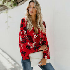 Summer Women's Print Deep V Long Flare Sleeves Tie Belted Waist Bow Tops Blouses
