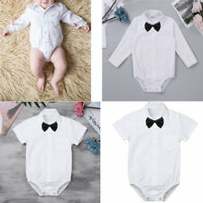 Infant Baby Boys Formal Gentleman Shirt Romper Jumpsuit Bodysuit with Bow Tie