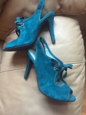 ANTHROPOLOGIE SEYCHELLES Size 6 Aqua Teal LEATHER SUEDE HEELS Open Toe Lace Up