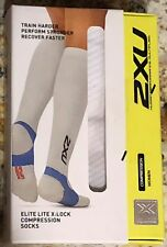 2XU Elite Lite X:Lock Compression OTC Running Recovery Socks White NEW Womens M
