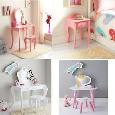 Children Wooden Pink Amelia Vanity Set/ Dressing Table With Mirror & Stool