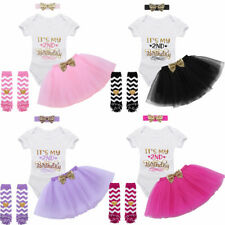 Kids Baby Girls Clothes Outfits Sets 2nd Birthday Outfits Romper Skirt Headband