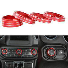 Car Headlight AC Switch Knob Button Cover Ring Trim for Jeep Wrangler JL 2018
