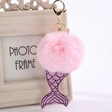 Women Bag Key Chain Accessories Soft Faux Fur Mermaid Tail Zinc Alloy Metal Ring