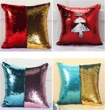 2X Reversible Sequin Mermaid Glitter Sofa Cushion Cover Pillow Case Double Color