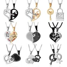 2PCS/Set Fashion Couple Heart Shape Forever Pendant Necklace Lovers Jewelry Gift