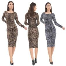 WOMEN LADIES LONG SLEEVE STRETCH BODYCON LEOPARD PRINT MIDI DRESS PLUS SIZE 8-26