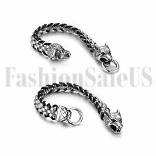 Mens Biker Punk Stainless Steel Leather Braided Wolf Head Link Chain Bracelet