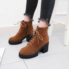 Womens Warm Suede Leather Block Heels Ankle Martin Boots Zip Lace up Shoes Hot