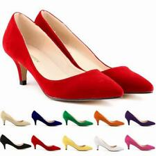 Womens Ladies Stiletto Shallow Slip On Mid High Heel Pointed Office Court Shoes