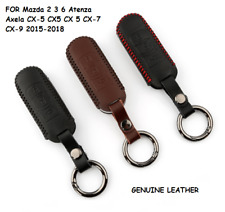 Real Leather Remote Car Key Cover Fob For Mazda Atenza Axela CX-5 CX-7 2015-2018