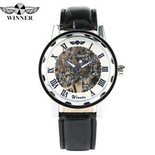 Skeleton Mens Mechanical Hand Winding Wrist Watch Sport Army Leather Band WINNER