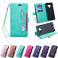 For Samsung S10 S9 S8 Plus Note 9 Multifunction Zipper Leather Wallet Case Cover
