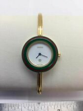 Gucci Gold Tone Green Red Case Bangle Band Bracelet Women's 28 mm Watch