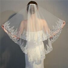 Wedding Veil Wedding Two Layer Appliqued Edge White Ivory Bridal With Comb Women