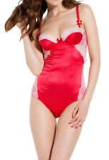 L'AGENT By AGENT PROVOCATEUR Marisela Stretch Satin Body Red/Baby Pink BNWT