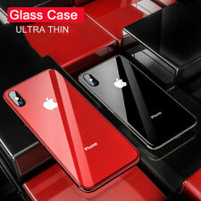 For iPhone XS Max Xr 8 7+ Case Plated Luxury Tempered Glass Back With Logo Cover