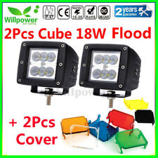 2X 18W Flood CREE LED Work Light 3 Inch Cube Offroad Car SUV 4WD Truck + Cover