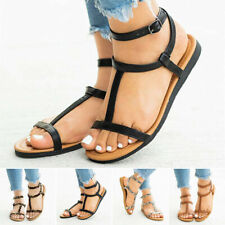 Summer Women's Buckle T-Strap Beach Sandals Open Toe Flat Casual Slingback Shoes