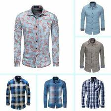 Casual Dress Shirts New Stylish Mens Long Sleeve Slim Fit Fashion Luxury