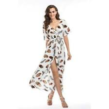 Long party summer maxi dress cocktail boho evening floral beach chiffon Women's