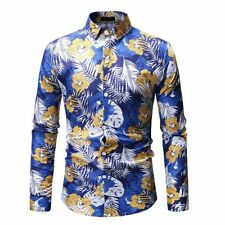 T-shirt men's floral long sleeve luxury casual slim fit stylish formal